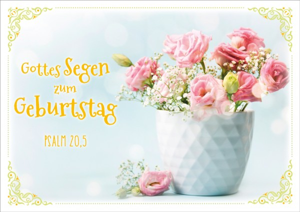 Postkarte Rosen mit Schleierkraut GF