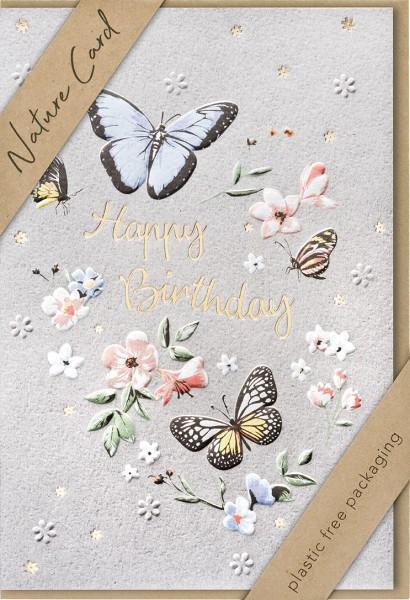 Doppelkarte Blüten und Schmetterlinge NC