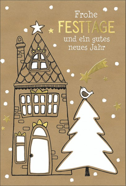 Doppelkarte Haus und Tannenbaum