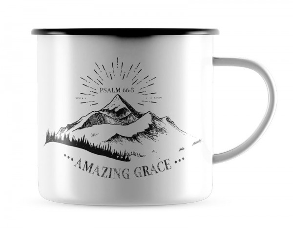 Emaille-Becher s/w Amazing Grace