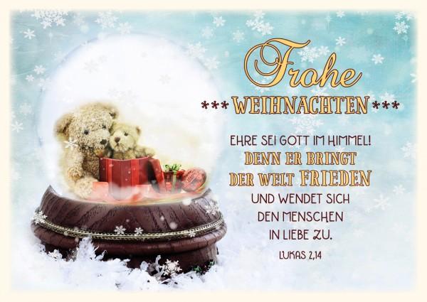 Postkarte WH Schneekugel Teddy