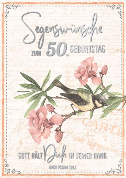 Doppelkarte 50 Vogel auf Zweig SF