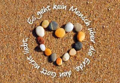 Minikarten Herz im Sand
