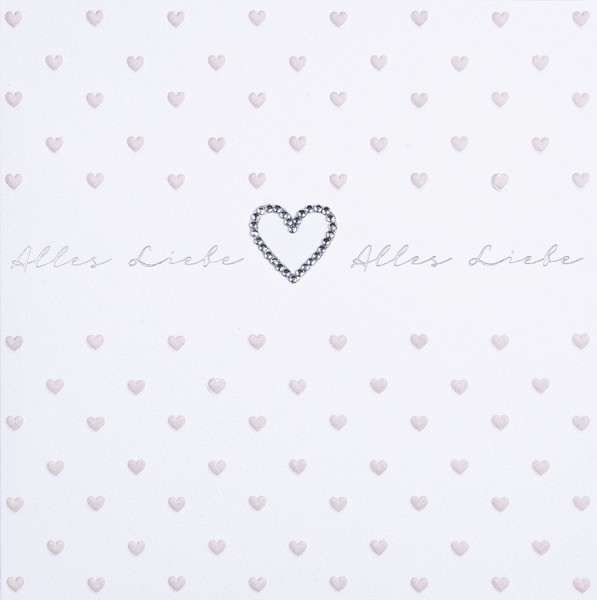 Doppelkarte Alles liebe rosa Herzen