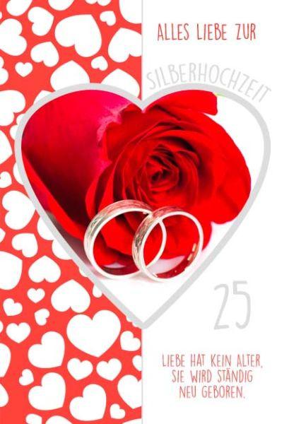 Doppelkarte Rose & Ringe im Herz