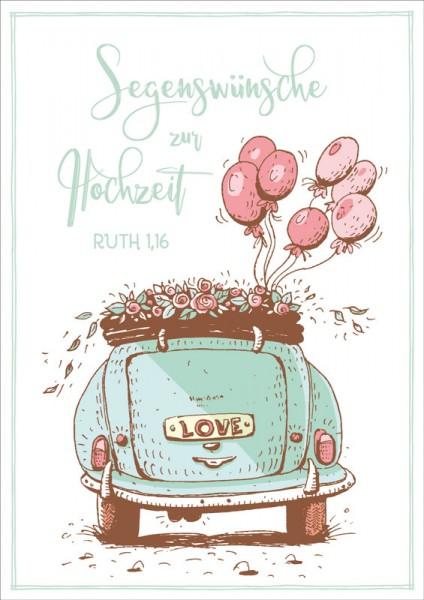 Doppelkarte Hochzeitsauto mit Luftballons