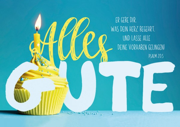 Postkarte Geburtstag Gelber Muffin