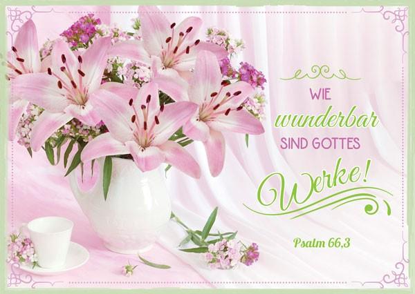 Postkarte Zahrtrosa Lilien