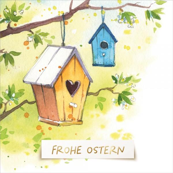 Doppelkarte Oster bunte Vogelhäuschen ENC