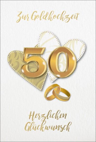 Doppelkarte 50 Zwei Herzen