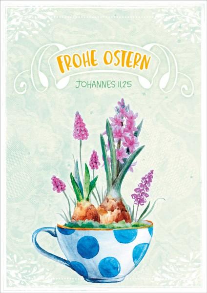 Doppelkarte Ostern / Bepflanzte Tasse GF