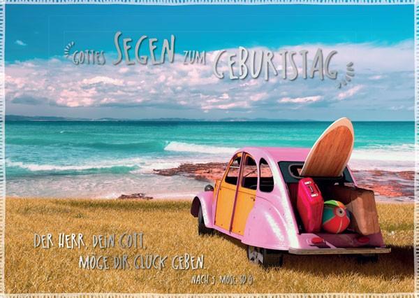 Postkarte Geburtstag Rosa Käfer am Meer