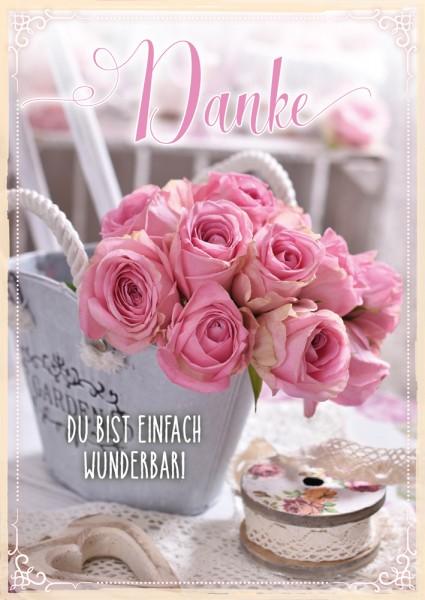 Postkarte Danke rosa Rosen Vintage
