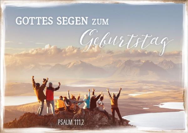 Postkarte Freunde auf Berggipfel